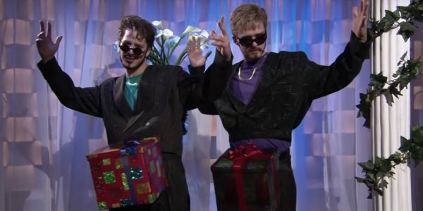 Justin Timberlake, right, with Andy Samberg for Dick in a Box on Saturday Night Live