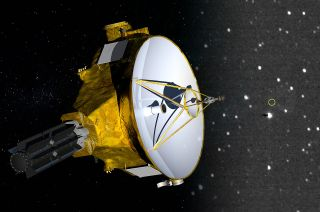 Rendering of NASA's New Horizons spacecraft, which will reach 50 AU (astronomical units), or 50 times the distance between Earth and the sun, on Saturday, April 17, 2021, a mile marker surpassed by only four other robotic probes in history. To celebrate the milestone, New Horizons pointed its camera out toward the direction of Voyager 1, the most distant spacecraft (marked with a yellow circle).