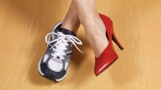 running shoes and high heels