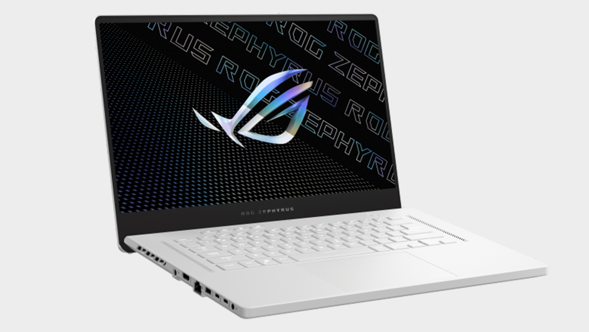 Asus ROG G15 gaming laptop from various angles on a grey background