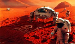 Humans may travel to Mars in the next few decades, and NASA is asking for input from the public on how to make missions safe and effective. This image shows an artist's depiction of a crewed mission to Mars.