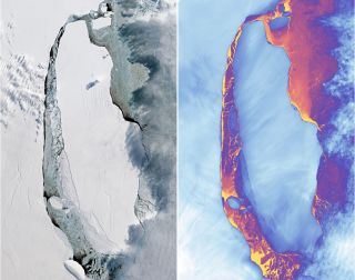 Instruments aboard the Landsat 8 satellite captured these visible and thermal images on Sept. 16, 2017, of the A68 iceberg that snapped off Antarctica's Larsen C Ice Shelf.