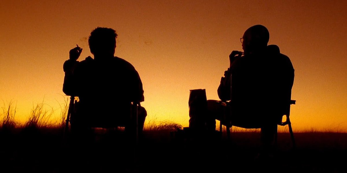 """Walt and Jesse near the sunset in """"4 Days Out"""" in Breaking Bad."""