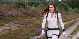 Scarlett Johansson as Black Widow in white suit