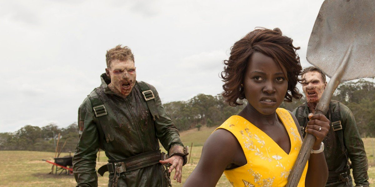 Lupita Nyong'O and zombies in Little Monsters