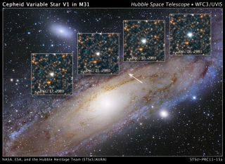 Hubble variable number one, or V1, and resides two million light-years away in the outer regions of the neighboring Andromeda galaxy, or M31. The star helped Edwin Hubble show that Andromeda lies beyond our galaxy, radically changing our view of the unive