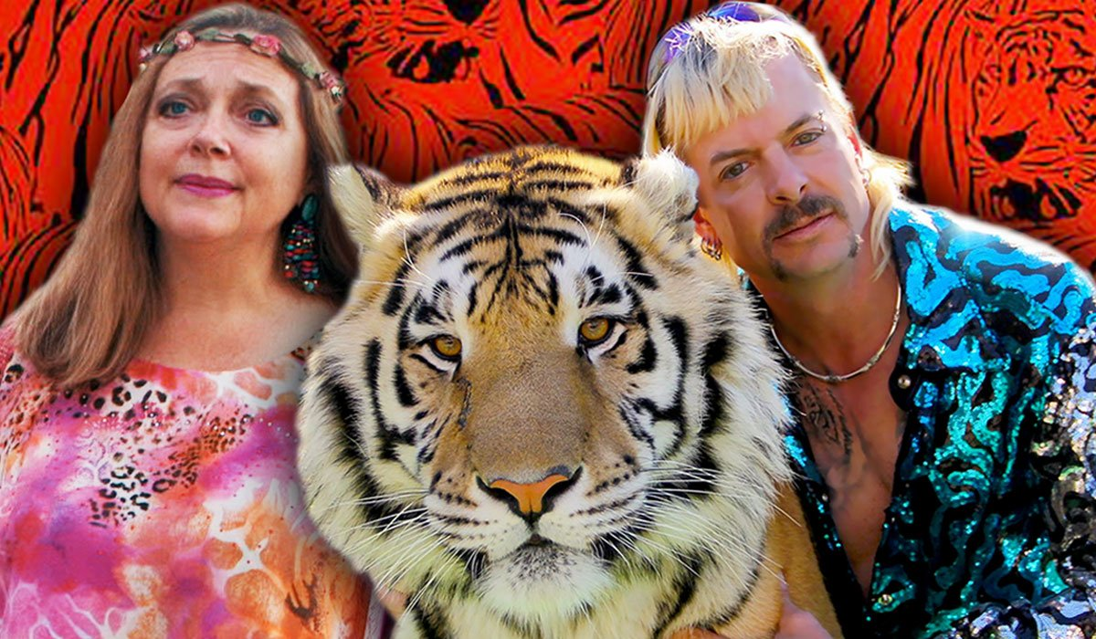 Carole Baskin And Joe Exotic With A Tiger From Tiger King