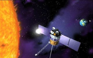 artist's concept of the Deep Space Climate Observatory (DSCOVR) satellite