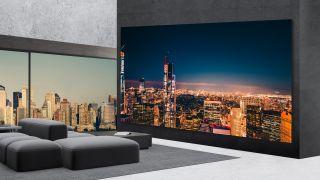 """325"""" TV in fancy living room."""