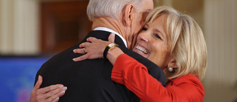 President Joe Biden hugs his wife Jill Biden