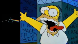 Homer Simpson and the cover of Pink Floyd's The Dark Side Of The Moon