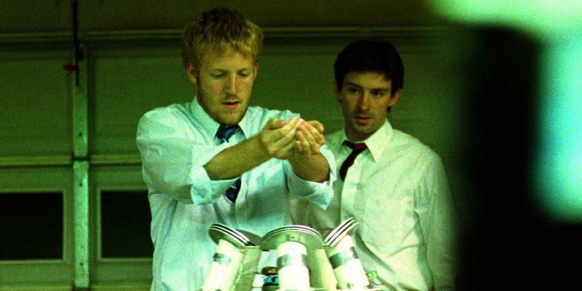 David Sullivan and Shane Carruth in Primer