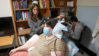 Sarah, a patient in a clinical trial, at an appointment with Katherine Scangos, MD, PhD, at UCSF's Langley Porter Psychiatric Institute