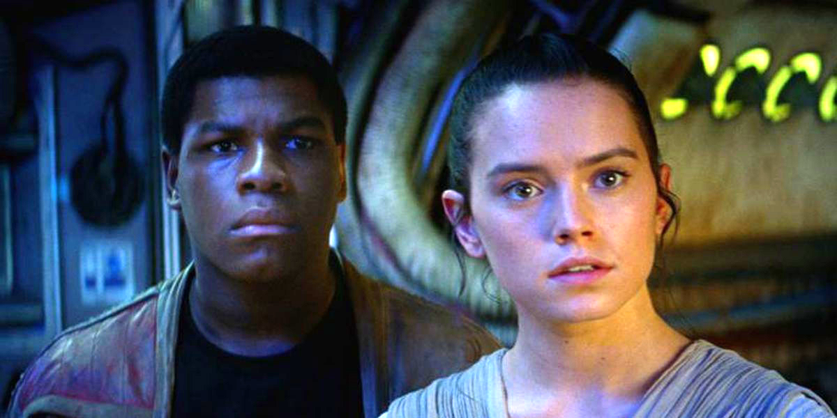 Finn and Rey in Star Wars: The Force Awakens