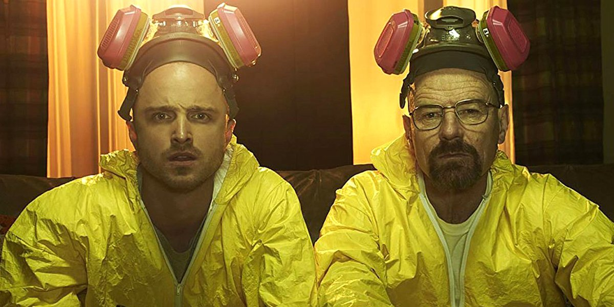 Breaking Bad Aaron Paul Jesse Pinkman Bryan Cranston Walter White in yellow meth lab suits AMC