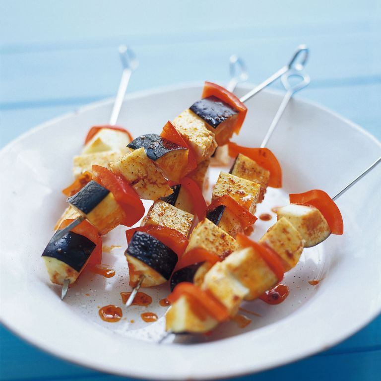 Halloumi, Aubergine and Red Pepper Kebabs recipe-recipe ideas-new recipes-woman and home