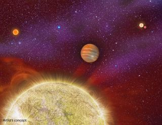 An artist illustrated this image of an exoplanet in a distant star system.