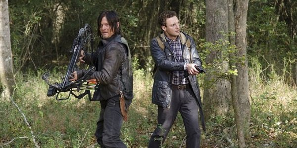 Daryl and his pal hunt walkers in The Walking Dead.