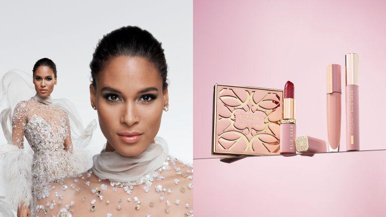 Campaign shot of Cindy Bruna alongside image of the L'Oréal Paris x Elie Saab collection