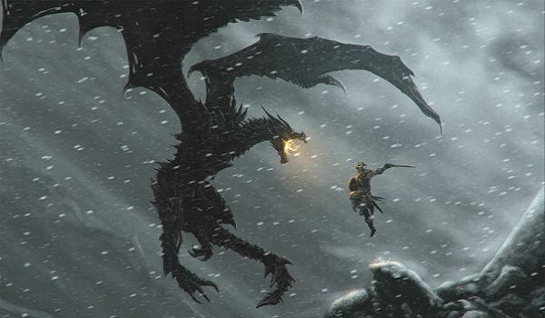 warrior attacks a dragon in skyrim