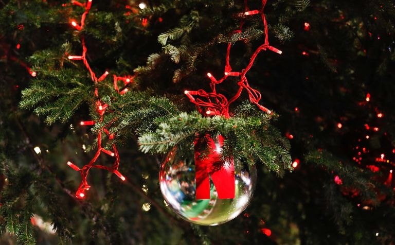 A tree bauble with an N on it symbolising the Christmas movies on Netflix .