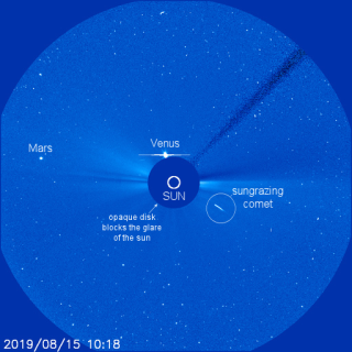 The Solar and Heliospheric Observatory (SOHO) observed a comet dive directly into the sun on Aug. 15, 2019.