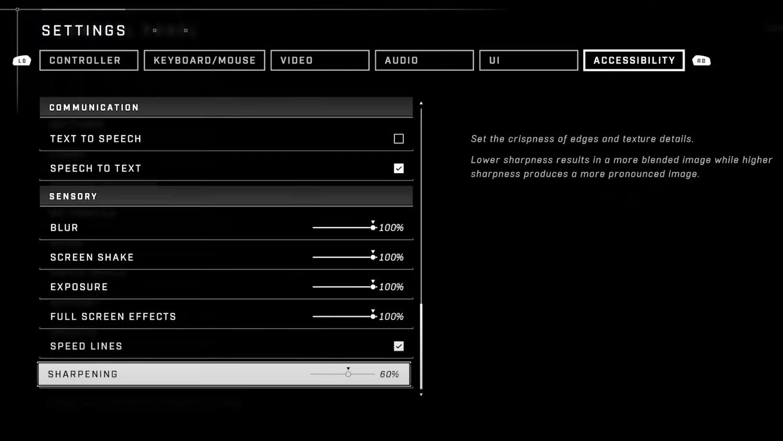 Halo Infinite accessibility settings sensory settings menu