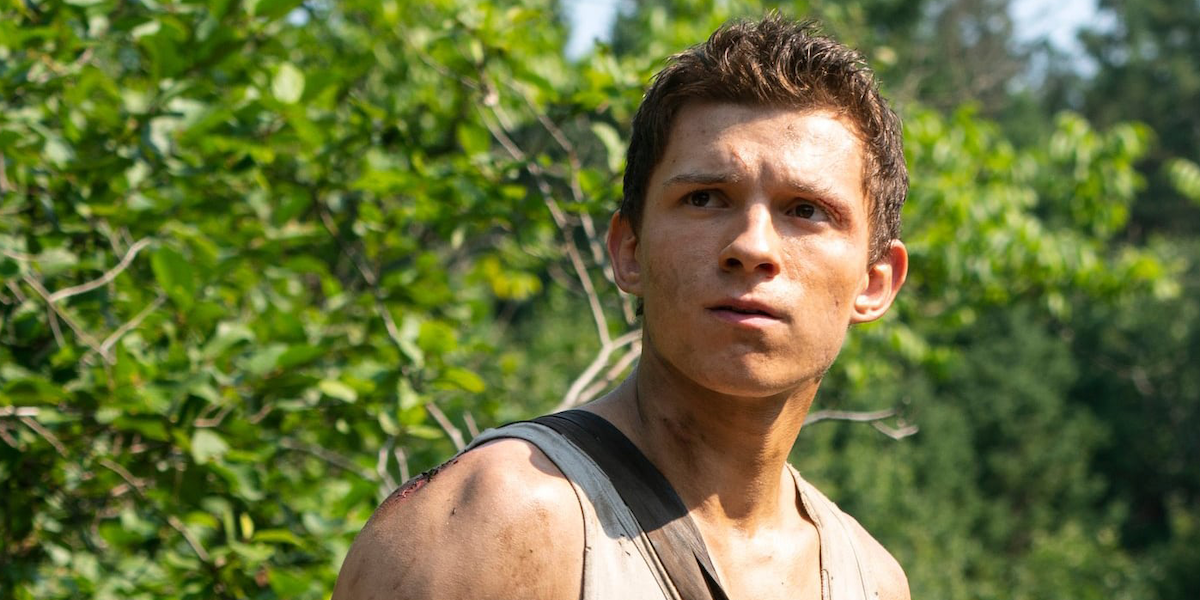 Tom Holland as Todd Hewitt in Chaos Walking movie looking off to the distance
