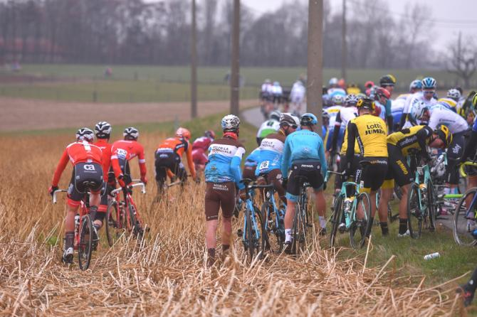 A crash with 100km to go at E3 Harelbeke