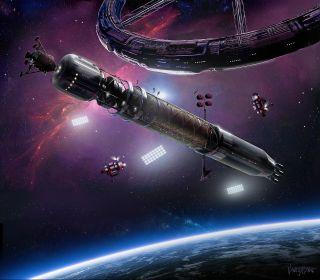 Rocket at space station art