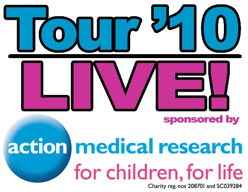 Tour de France 2010 live coverage sponsored by Action Medical research logo