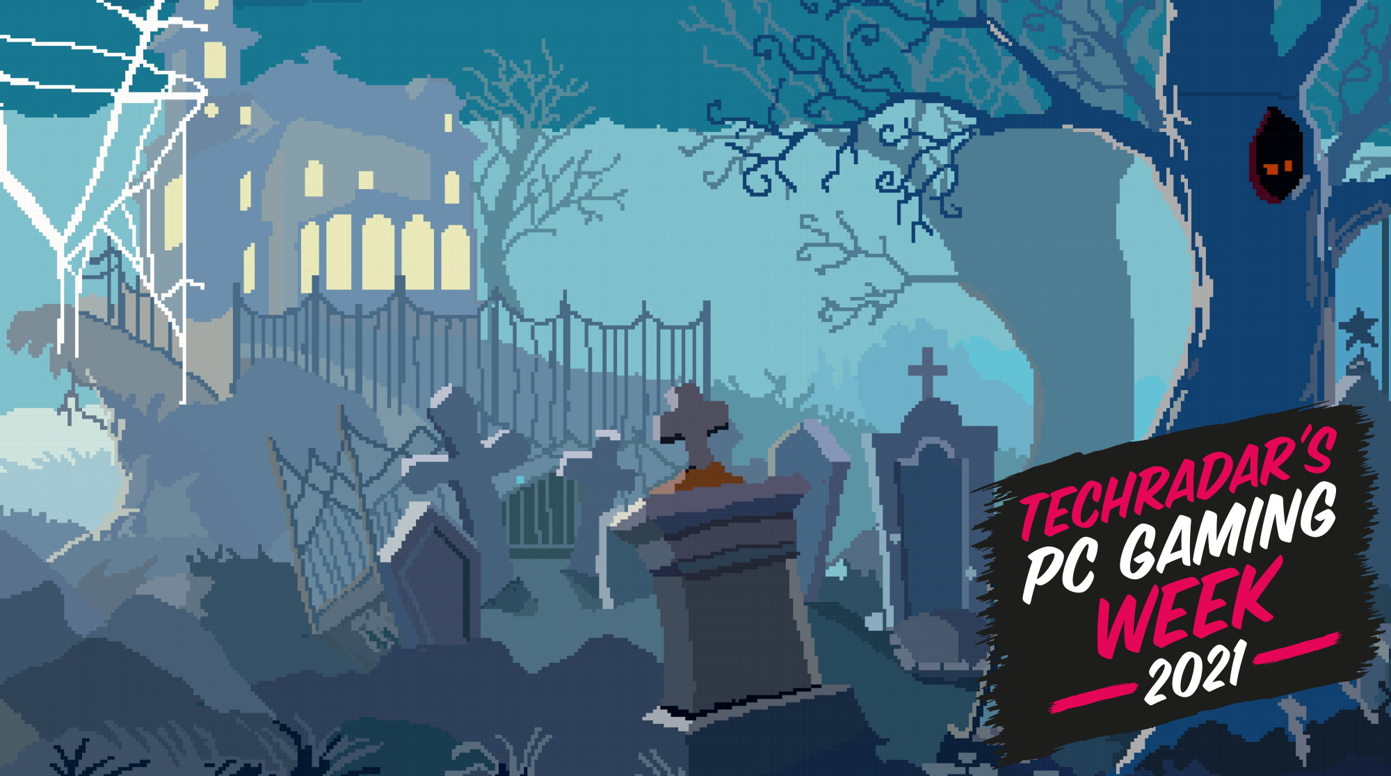 Retro pixel art representation of a graveyard