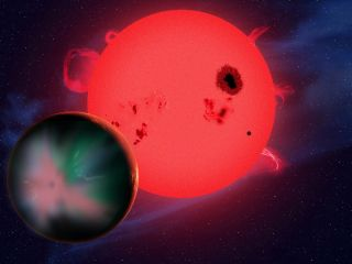 Artist's Concept of Alien Planet Orbiting Red Dwarf Star