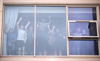 Leeds players celebrate promotion
