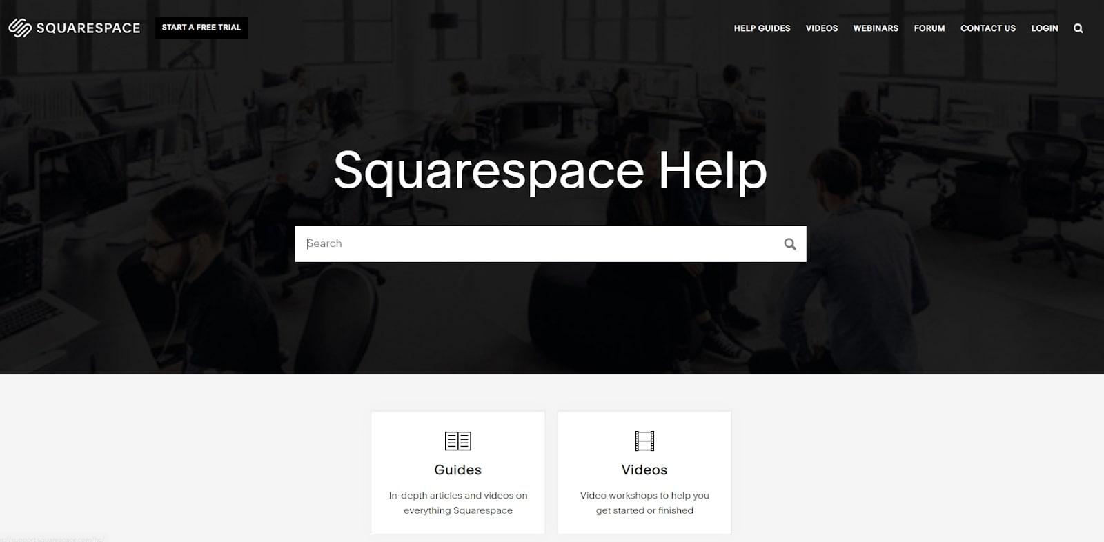 Site Web d'assistance Squarespace