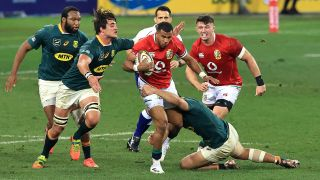 British & Irish Lions vs South Africa live stream — Anthony Watson of the British & Irish Lions is tackled by Damian de Allende and Franco Mostert during the 1st Test