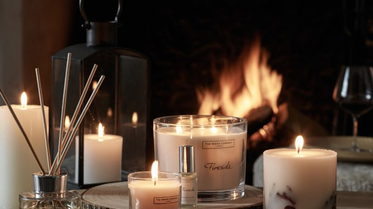 Autumnal candle arrangement by The White Company