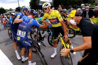 Mathieu van der Poel (Alpecin-Fenix) congratulates Mark Cavendish after stage 4 of the Tour de France