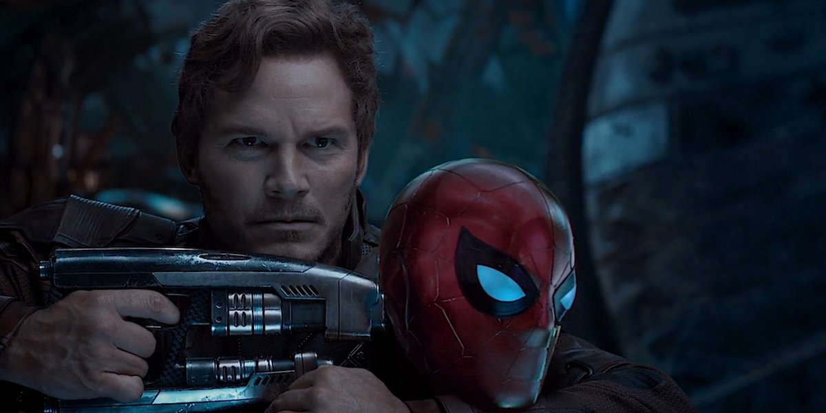 Star-Lord holding blaster to Spider-Man's head in Avengers: Infinity War