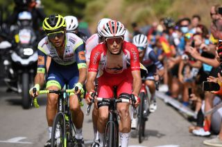 RINCON DE LA VICTORIA SPAIN AUGUST 24 LR Christian Eiking Odd of Norway and Team Intermarch Wanty Gobert Matriaux and Guillaume Martin of France and Team Cofidis in the Breakaway during the 76th Tour of Spain 2021 Stage 10 a 189km stage from Roquetas de Mar to Rincn de la Victoria lavuelta LaVuelta21 on August 24 2021 in Rincon De La Victoria Spain Photo by Tim de WaeleGetty Images