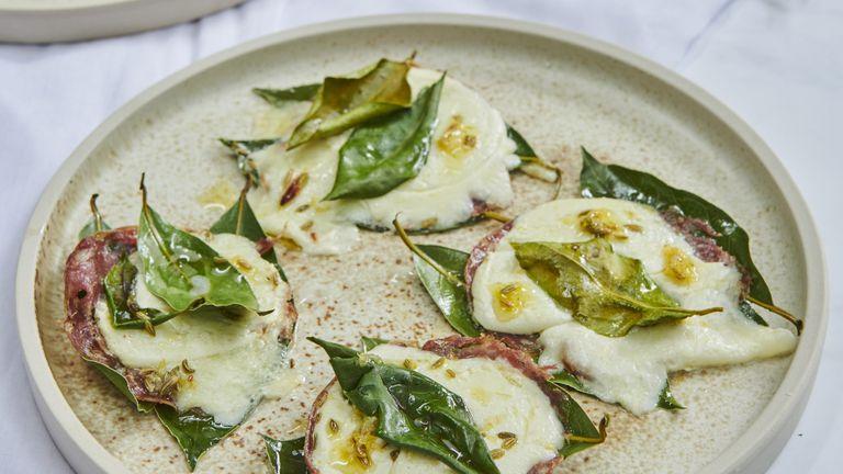 Marinated mozzarella with salami