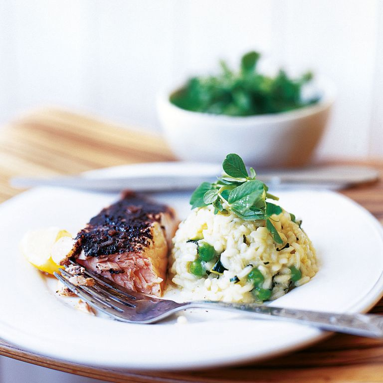 Grilled Salmon with Sumac, and Courgette, Mint and Pea Risotto Recipe-new recipes-woman and home