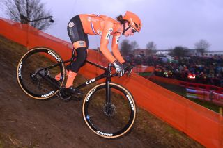 The Netherlands' Marianne Vos races to a third-place finish at the 2019 UCI Cyclo-cross World Championships in Bogense, Denmark