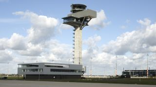 The control tower of DFS Deutsche Flugsicherung at Berlin Brandenburg Airport.