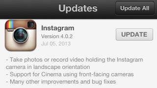 Instagram update with landscape mode