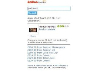 Kelkoo's mobile service