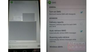 Google Hangouts SMS leaked screenshots