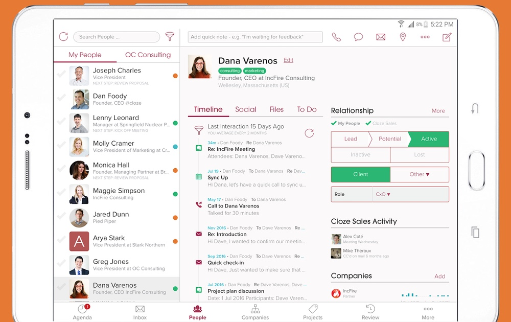 best contact apps: Cloze Relationship Management