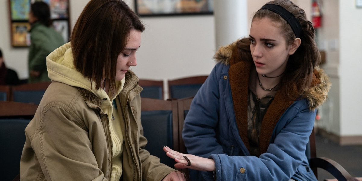 Never Rarely Sometimes Always Sidney Flanigan and Talia Ryder sit in the waiting room