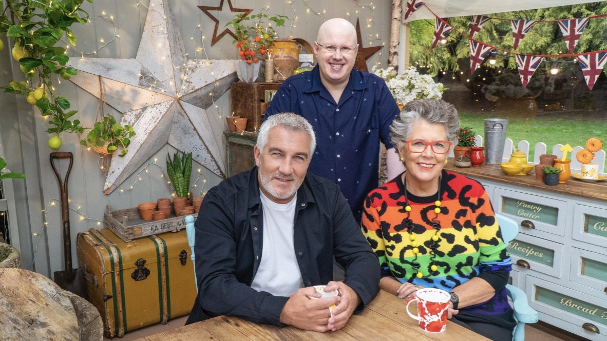 Paul Hollywood, Matt Lucas and Prue Leith in Celebrity Bake Off